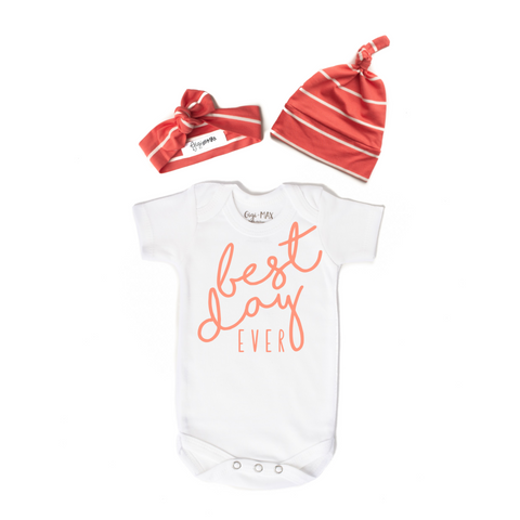 Newborn Size Best Day Ever Coral Stripe DEAL OF THE DAY - Gigi and Max