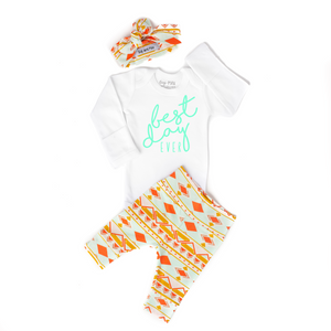 Best Day Ever Peach and Mint Aztec Newborn Outfit