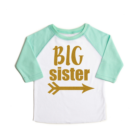 Mint Big Sister Raglan - gold shimmer - Gigi and Max