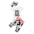 Little Sis newborn outfit Black and Pink Floral