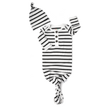Black and White Stripe Knotted Button Gown - Gigi and Max