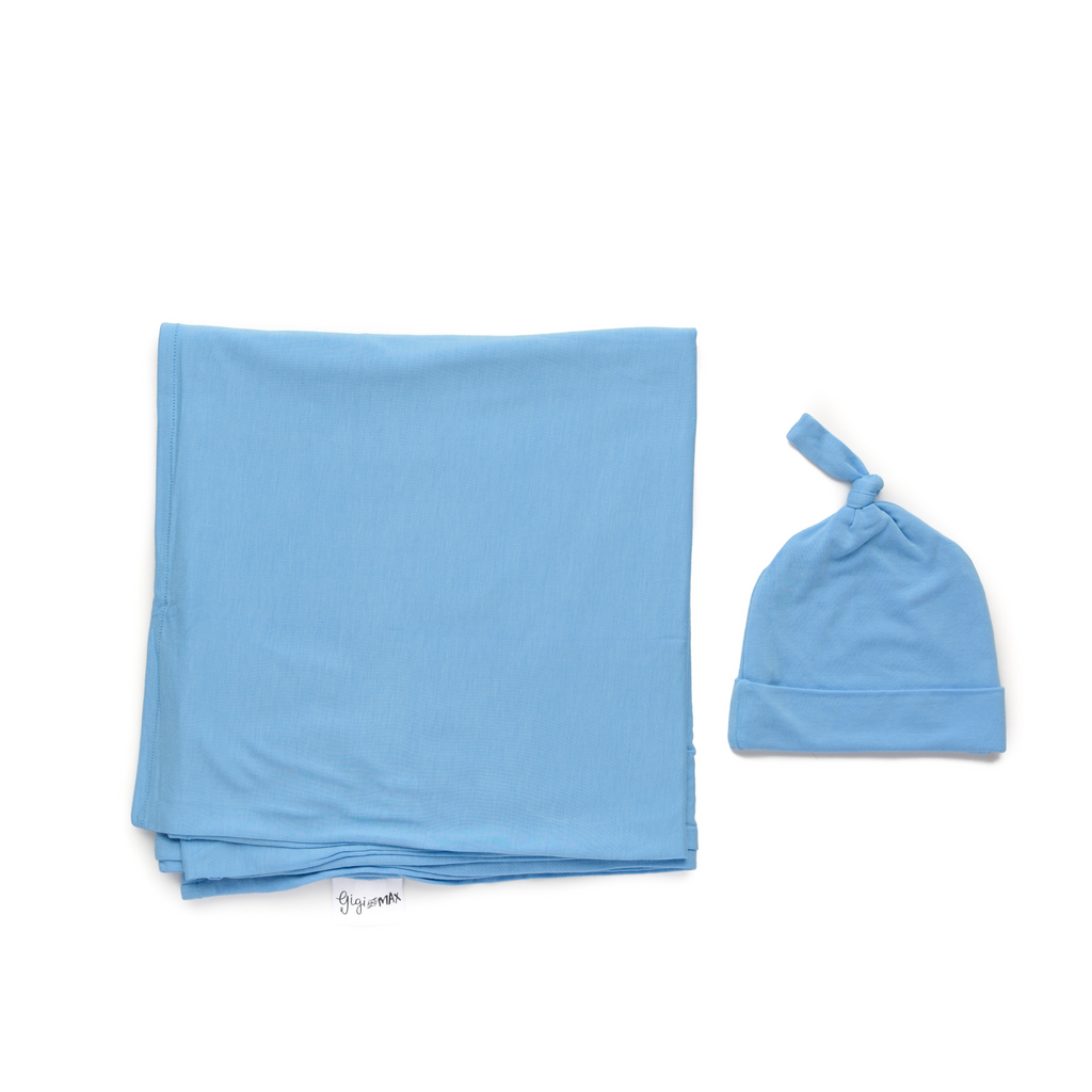 Baby Blue Swaddle blanket - Gigi and Max
