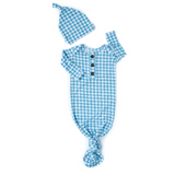 Connor Blue Gingham Knotted Button Gown - Gigi and Max