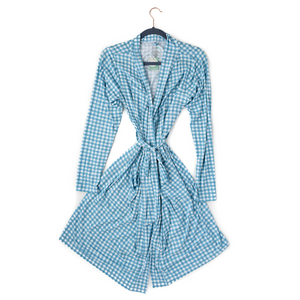 Connor Blue Gingham Mommy Robe - Gigi and Max
