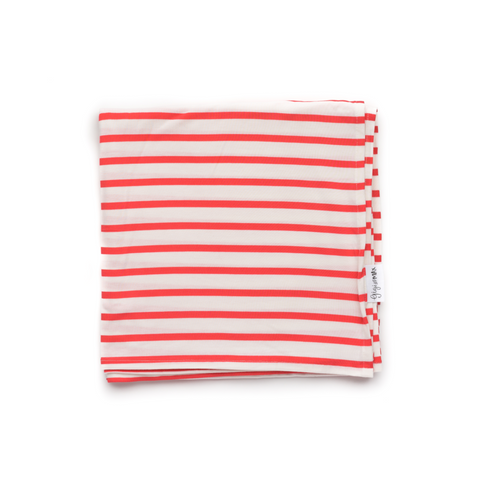 Coral and White Stripe Swaddle blanket - Gigi and Max