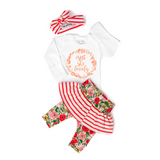 NEW skirt Isn't she Lovely Coral and floral stripe Newborn Outfit - Gigi and Max