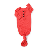 Coral Knotted Ruffle Button Gown -  NB-3m - Gigi and Max