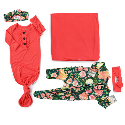 Jolie Floral and Coral Ultimate baby girl Newborn going home outfit bundle - Gigi and Max