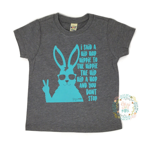 Easter Hip Hop Gray tee / teal ink - Gigi and Max