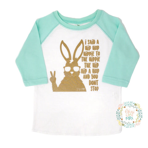Easter Hip Hop Raglan - mint sleeves / gold shimmer ink - Gigi and Max