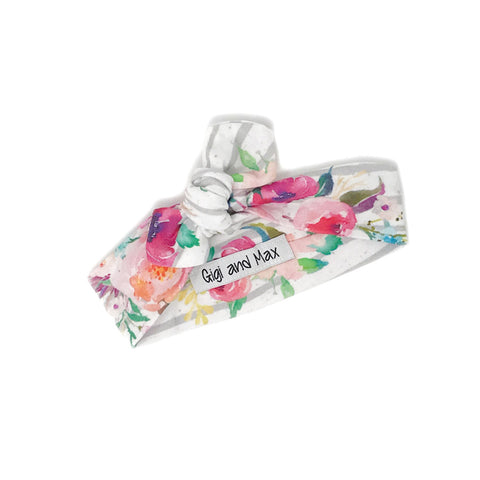 Watercolor Floral Infant topknot headband - Gigi and Max