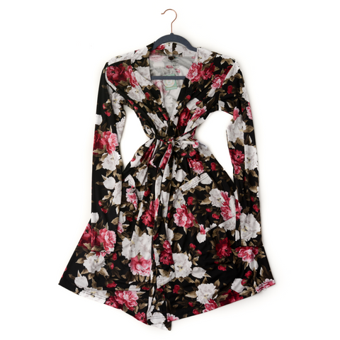 Emma Black Peony Mommy Robe - Gigi and Max