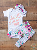 Watercolor Floral BEST DAY Ever Coral Writing Newborn Outfit - Gigi and Max