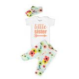 Little Sister newborn outfit Floral on Light Blue - Gigi and Max