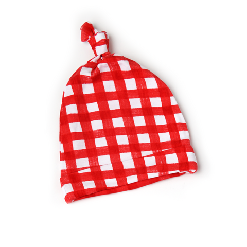 Frost Red Gingham Newborn knot hat - Gigi and Max