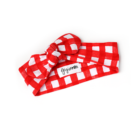 Frost Red Gingham Topknot Headband - Gigi and Max