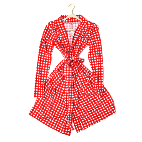 Frost Red Gingham MOMMY ROBE - Gigi and Max