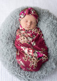 "Gianna Floral Swaddle Lightweight blanket and headband -  34"" X 34"" mauve floral - Gigi and Max"
