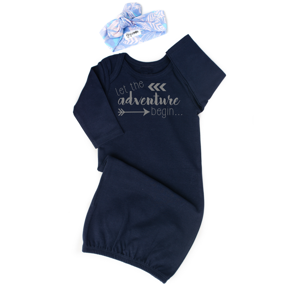 Navy Let the Adventure Begin gown - Gigi and Max