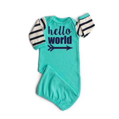Hello World Handmade Teal and Navy Stripe gown - Gigi and Max