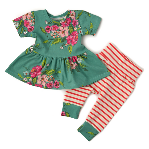 Addy Floral Peplum and Leggings Set Handmade (headband sold separately) - Gigi and Max