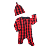 Hudson Buffalo Plaid Newborn footed zippered one piece - Newborn Size - Gigi and Max