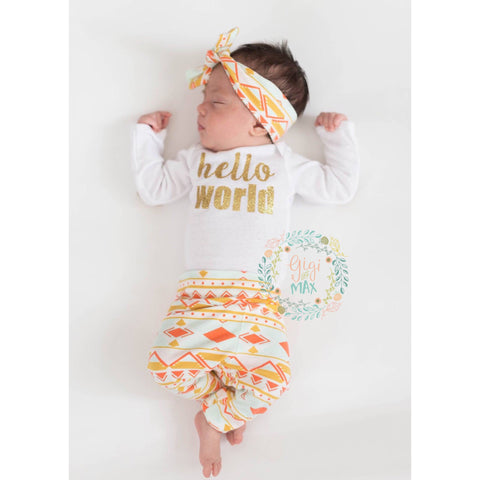 Peach and Mint Aztec Newborn Outfit