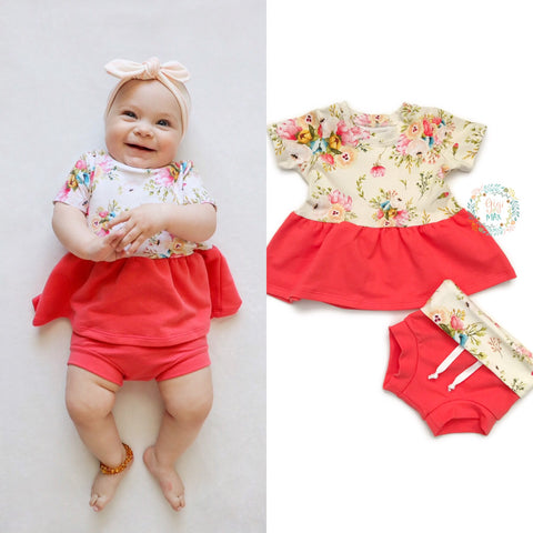 Mustard Floral and Coral Peplum and Shorties Set Handmade - Gigi and Max