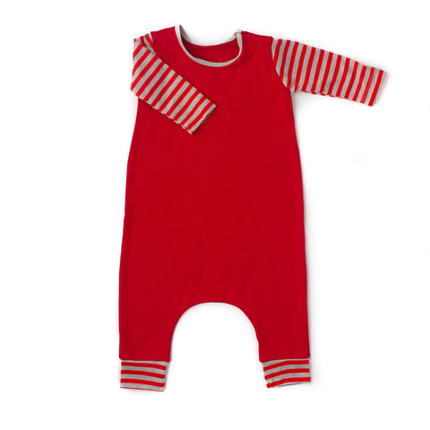Stretchy Neck Long Sleeve romper Red with stripes - Gigi and Max