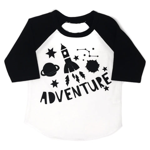 Space Adventure Raglan - black sleeves / black ink - Gigi and Max