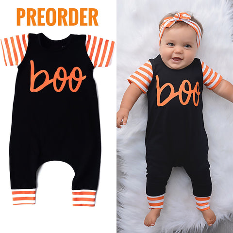 Preorder Halloween BOO cursive romper - Black and Orange ** Please allow 3-4 weeks for processing time ** - Gigi and Max