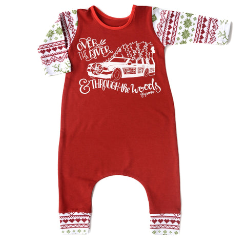 Over the River Red with Christmas sweater print arms - Long Sleeve romper - Gigi and Max