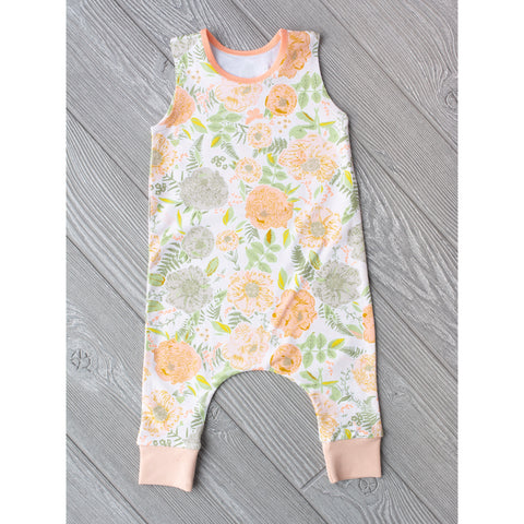 Nora Peach Peony Floral - Tank Romper - Gigi and Max