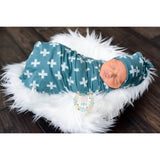 "Slate blue Cross Swaddle - 34""x34"" Gender Neutral - - Gigi and Max"