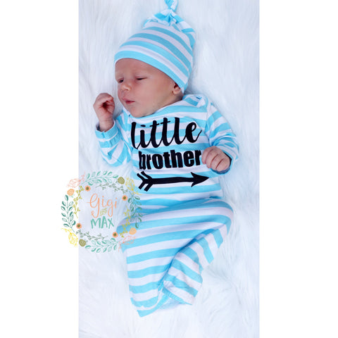 Little brother Handmade stripe gown - Blue