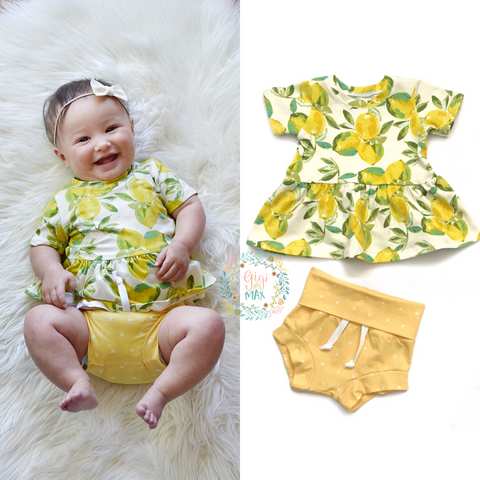 Lemon Peplum and Shorties Set Handmade - Gigi and Max