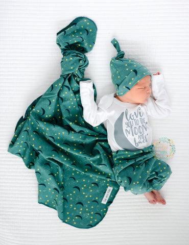 Teal Love You To The Moon And Back Newborn Outfit Gigi