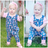 Navy Floral with Dusty Pink Short Sleeve Romper