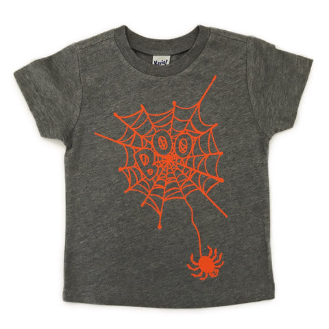 Spider Boo Halloween - gray tee - Gigi and Max