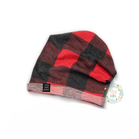 Buffalo Plaid Beanie - infant and toddler size - Gigi and Max