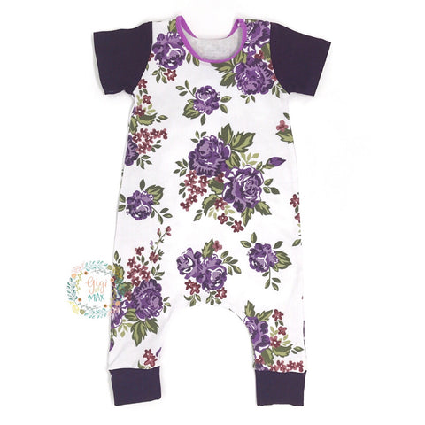 Purple Floral - Short Sleeve romper - Gigi and Max