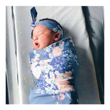 Swaddle Heathered Slate Blue and Pink Floral - Gigi and Max
