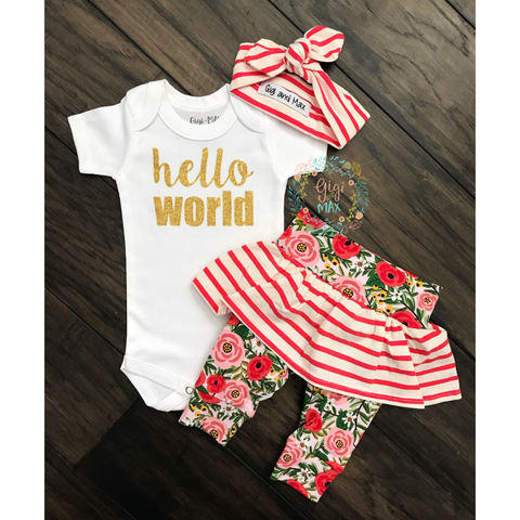 Hello World Coral and floral stripe skirt Newborn Outfit - Gigi and Max