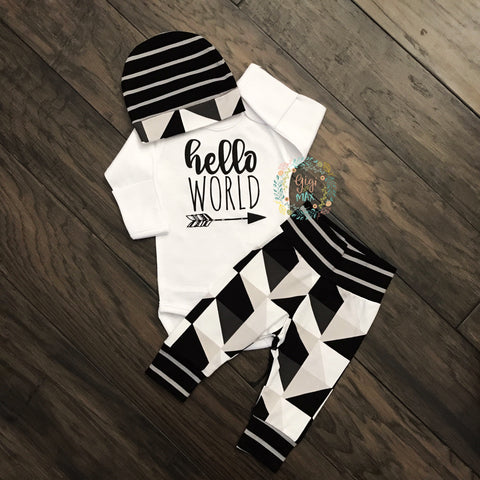 0-3 month - Hello World Triangles Outfit