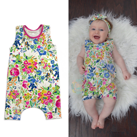 Indigo Floral - Tank and Short Romper - Gigi and Max