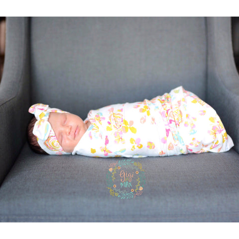 "Swaddle White and Pink Floral -  34"" X 34"" ** Please allow 1-2 weeks for processing time ** - Gigi and Max"