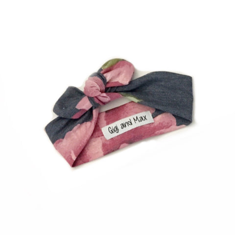 Navy and Mauve Floral headband - matches navy/mauve floral romper