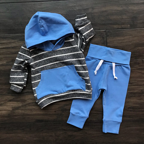 Charcoal with Stripe Solid blue Hoodie and Jogger Set Handmade - Gigi and Max