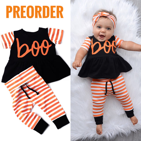 Preorder Boo Orange and Black Peplum and Leggings Set Handmade (headband sold separately) ** Please allow 3-4 weeks for processing time ** - Gigi and Max