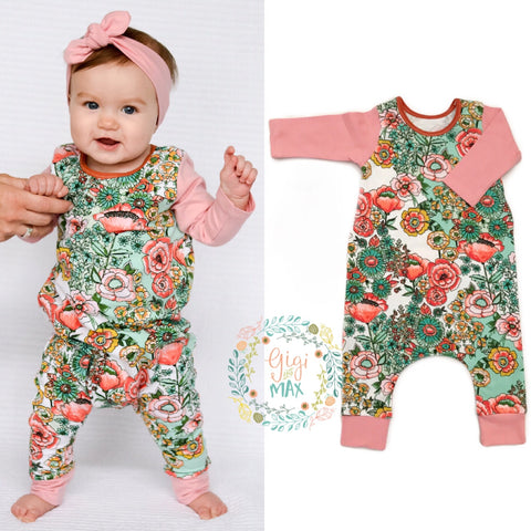 Floral body Pink arms long sleeve romper